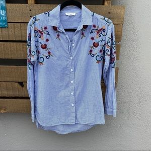 🌸 Beach Lunch Lounge button up with embroidery